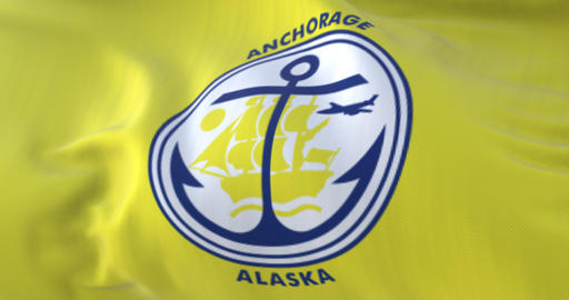 Anchorage city flag, Alaska, United States of America - loop Animation