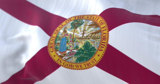 Flag of Florida state waving, region of the United States - loop Animation