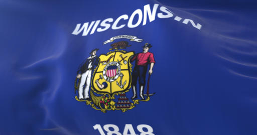 Flag of Wisconsin state, United States of America. Loop Animation