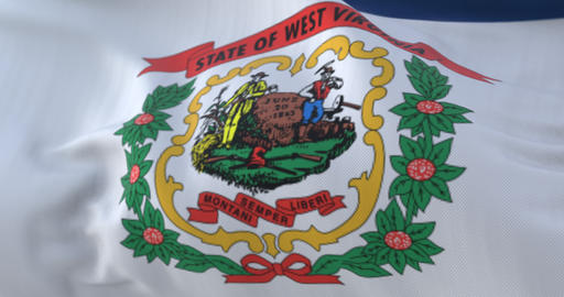 Flag of West Virginia state, United States of America. Loop Animation