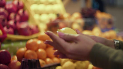 Close up of woman chooses lemons on store shelves at the market Live Action