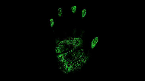 Animation of scanner scanning a human hand in black background Animation