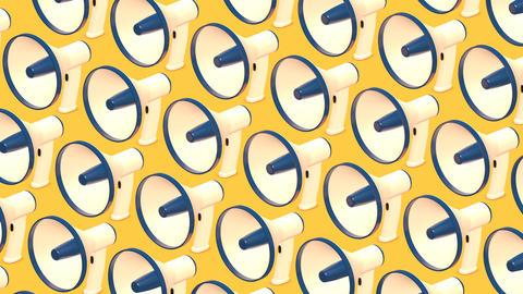 Many megaphones on yellow background Animation