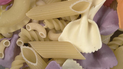 Rotation of close-up pasta. Assorted pasta. Pre-finished for cooking Live Action