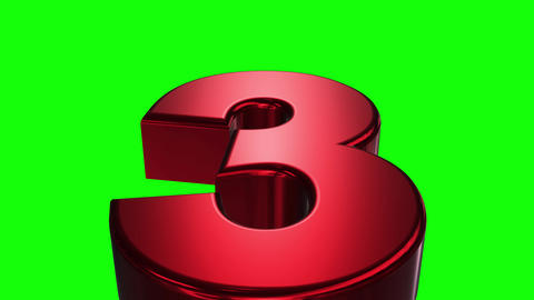 Countdown 3D Red TEXT Green Screen Background_A03 Animation