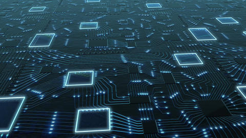Axonometric Sci-Fi digital blue background, printed circuit board with chips and Animation