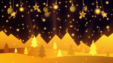 Golden Christmas Landscape Loop Background Illustration Animation
