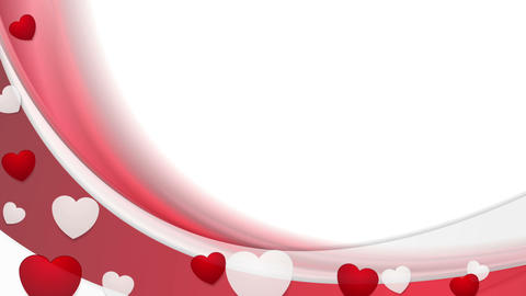 Video animation with red waves and hearts Animation