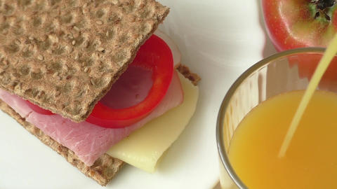 Big group of meat, cheese, bread, juice. Healthy food ライブ動画