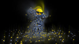 Facebook Icon Dancing Character surrounded by colorful lights, against black Animation