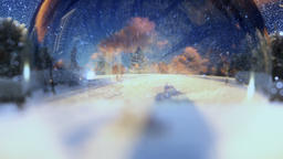 Beautiful couple seen through a glass orb, zoom out, winter holidays Animation
