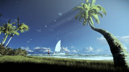 Tropical island, palm trees blowing in the wind and yacht sailing, woman running Animation
