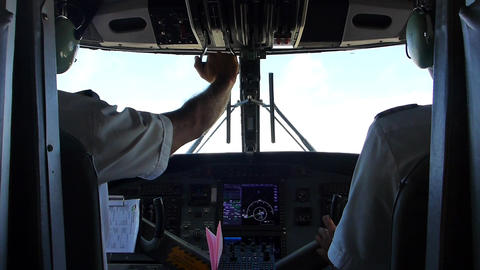 View to the cockpit of an airplane Footage