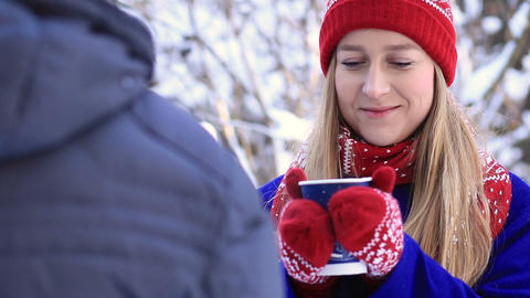 Drinking coffee during cold winter Footage