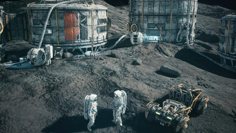 View of the lunar base of the future and the astronauts working in the lunar colony. Animation for Animation
