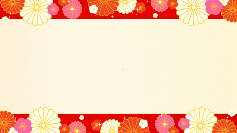 New Year's glittering background material, Japanese paper, red, with decoration Animation
