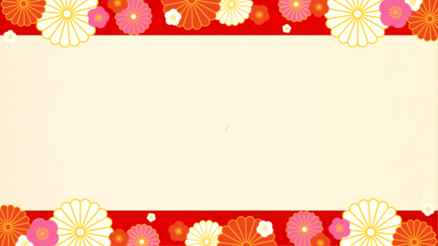 New Year's background material, Japanese paper, red, with decoration Animation