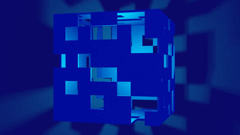 dark blue cube with randomly cut square vistas, inside the object bright light Animation