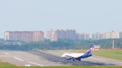 Aeroflot - Russian Airlines Sukhoi Superjet 100 regional airliner entering the Live Action