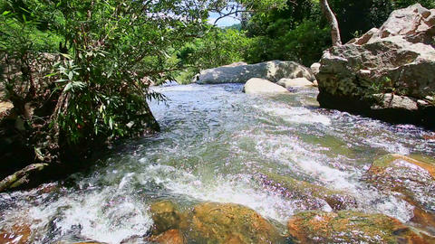 Mountain River Runs down over Polished Rocks Forestry Banks Footage