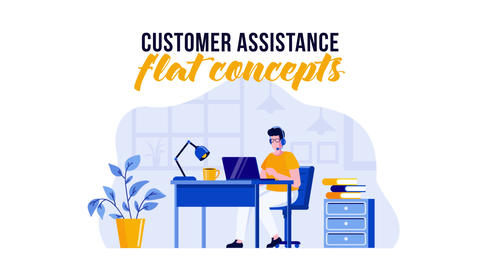 Customer assistance - Flat Concept After Effects Template