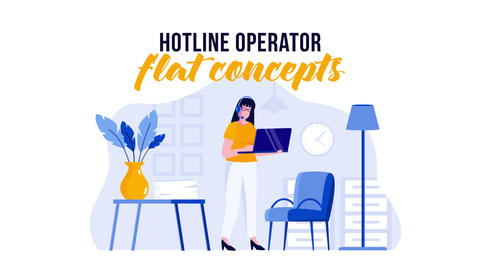 Hotline operator - Flat Concept After Effects Template