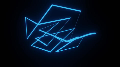 Abstract three-dimensional glowing blue object rotating on a black background Animation