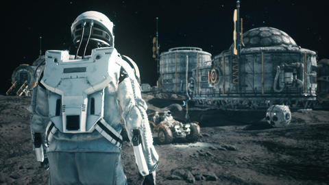 An astronaut approaches his rover at the space base of the future. Animation for fantasy, futuristic Animation
