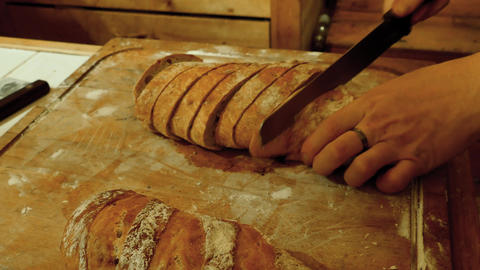 Hand Cutting Bread Live Action
