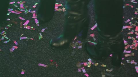 Two beautiful girls dancing on dancefloor, enjoying nightlife. Nightclub party Footage