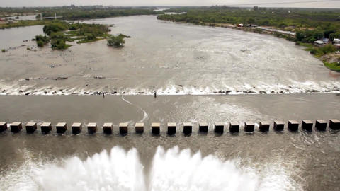 Dam Releasing Water in Argentina Footage