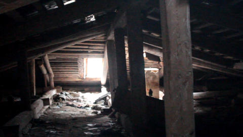 attic of a ruined house Footage