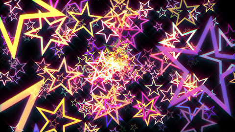 Colorful Disco Retro Stars Burst Psychedelic Motion Background Loop Animation