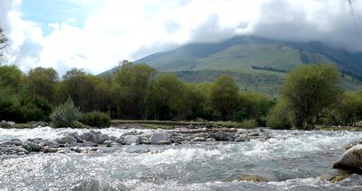 Semyonovskoe gorge, the river Ak-Suu. Issyk Kul, Kyrgyzstan Footage