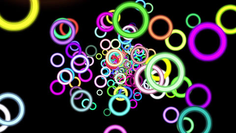 Vibrant Colorful Rings Particles Disco Burst VJ Motion Background Loop Rotate Le Animation