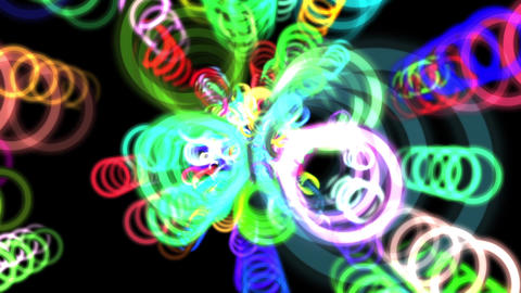 Vibrant Colorful Rings Particles Disco Burst VJ Motion Background Loop 3 Animation