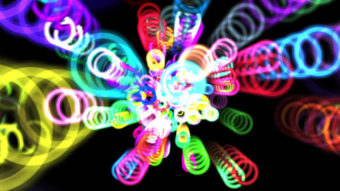 Vibrant Colorful Rings Particles Disco Burst VJ Motion Background Loop 3 Roll Animation