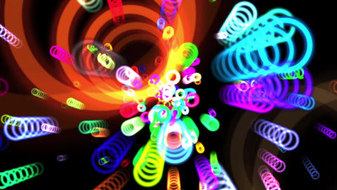 Vibrant Colorful Rings Particles Disco Burst VJ Motion Background Loop 4 Roll Animation