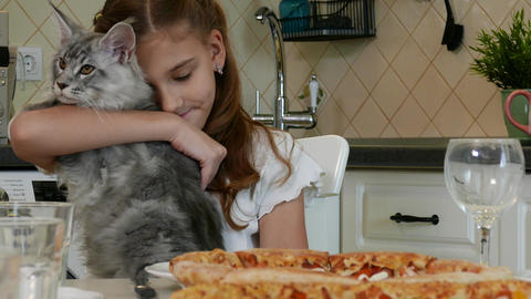 Cute Little Kid Girl with her cat Live Action