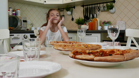 Big pizza with Cute Little Kid Girl Live Action