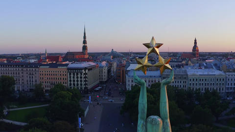 Aerial view of the freedom monument milda latvia 2 Live Action