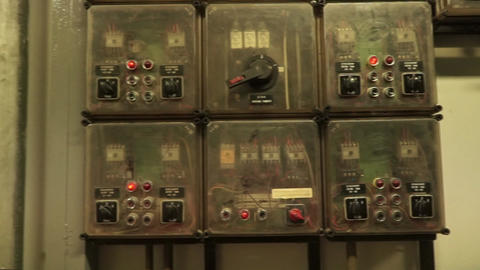 old vintage electric distribution board and fuses Footage