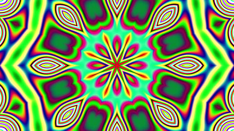 Detailed Psychedelic Retro 60s Kaleidoscope VJ Motion Background Loop 4 Animation