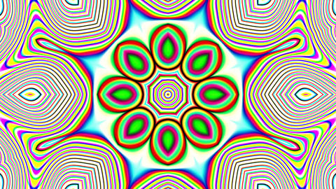 Detailed Psychedelic Retro 60s Kaleidoscope VJ Motion Background Loop 1 Animation