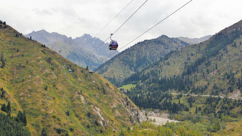 Almaty, Kazakhstan - August 30, 2016: Funicular from Medeo to Shymbulak Live Action