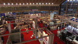 Aerial:Pull back reveal. 41st International exhibition of medical, laboratory, d Footage