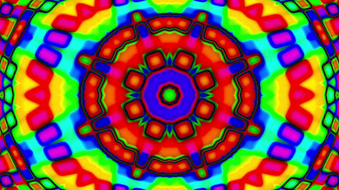 Psychedelic Colorful Stained Glass Kaleidoscope Motion Background Loop Slow 1 Animation
