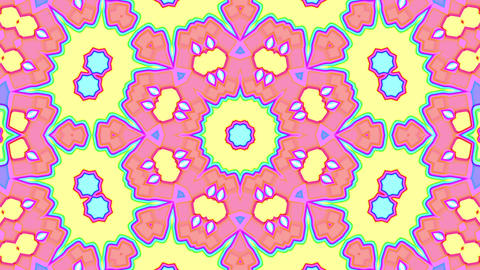 Light Pastel Ornate Psychedelic Kaleidoscope VJ Motion Background Loop 3 Animation