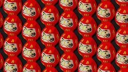 Red Daruma dolls on black background Animation