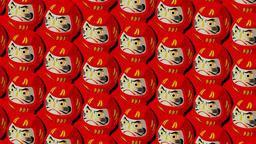 Red Daruma dolls on red background Animation